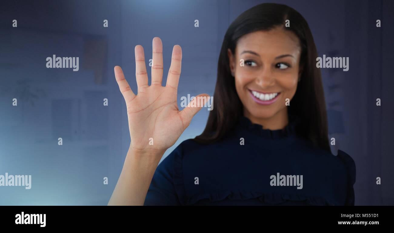 Businesswoman touching air Stock Photo