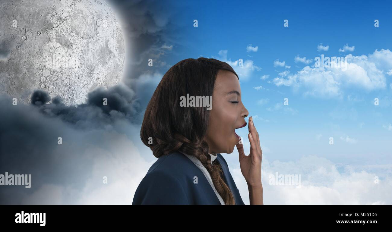 Tired woman yawning and Day and night moon cloudy sky contrast transition Stock Photo
