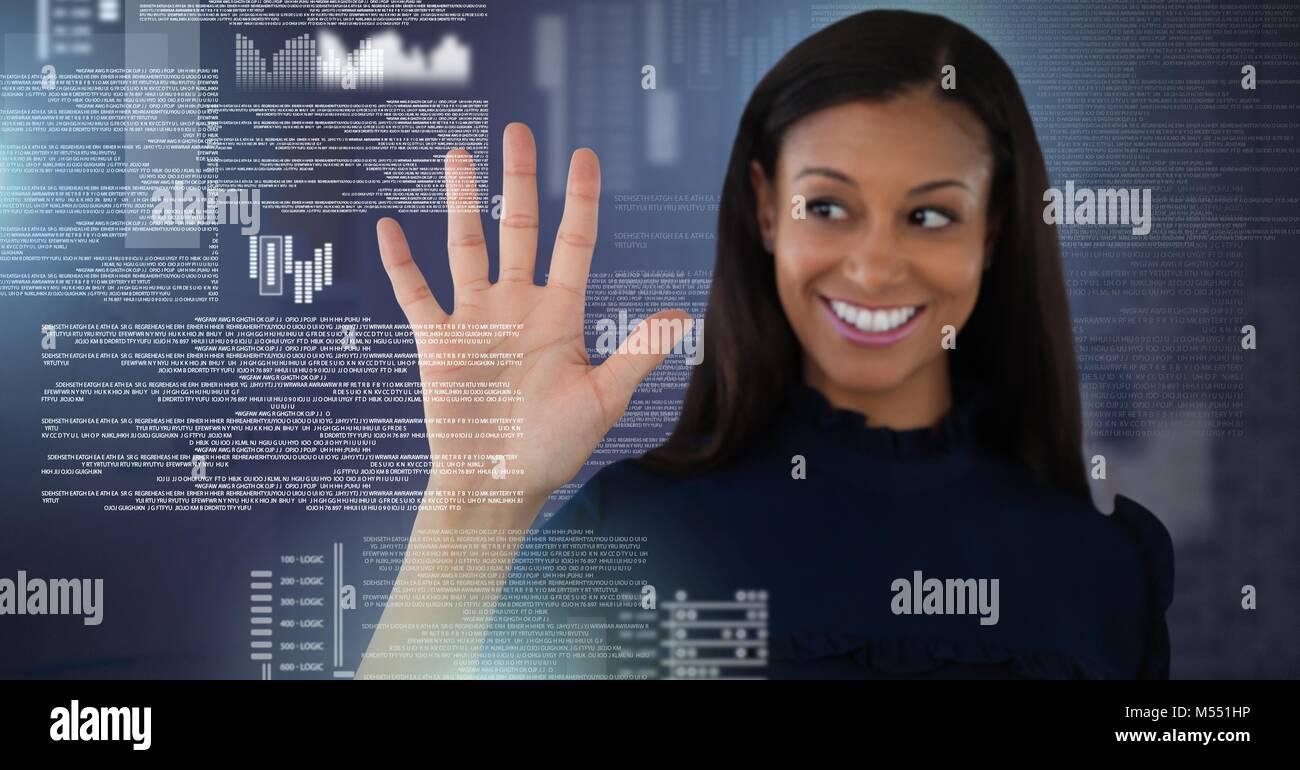 Businesswoman touching screen text interface Stock Photo