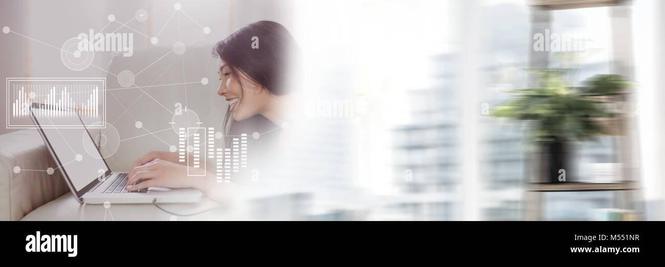 Business Overlay Interface with woman and laptop with transition Stock Photo
