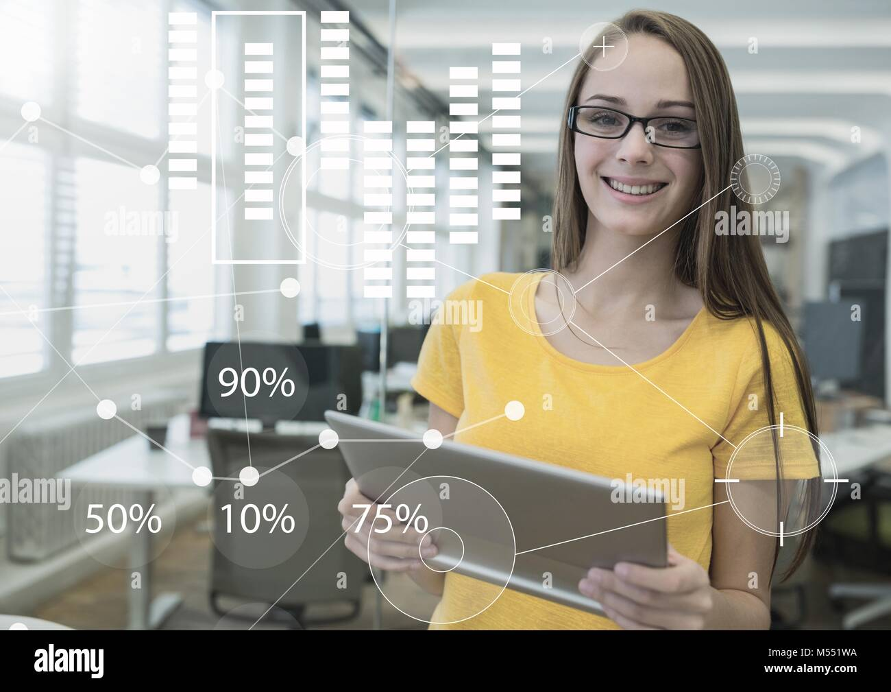 Business Overlay Interface with woman and tablet Stock Photo