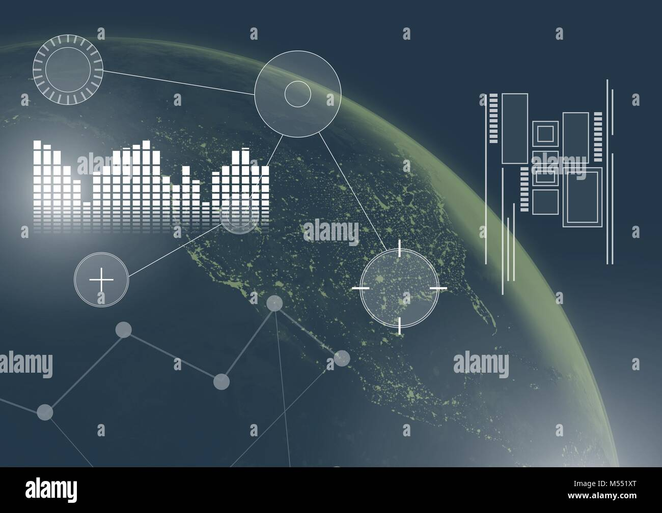 Interface overlay of connection statistics graphics with planet earth in space background - Stock Image