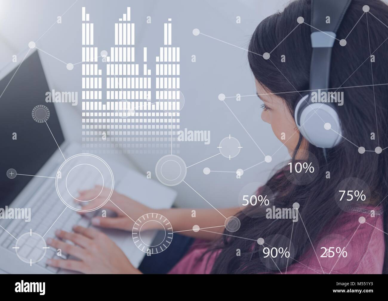 Business Overlay Interface with woman wearing headset earphones and laptop Stock Photo