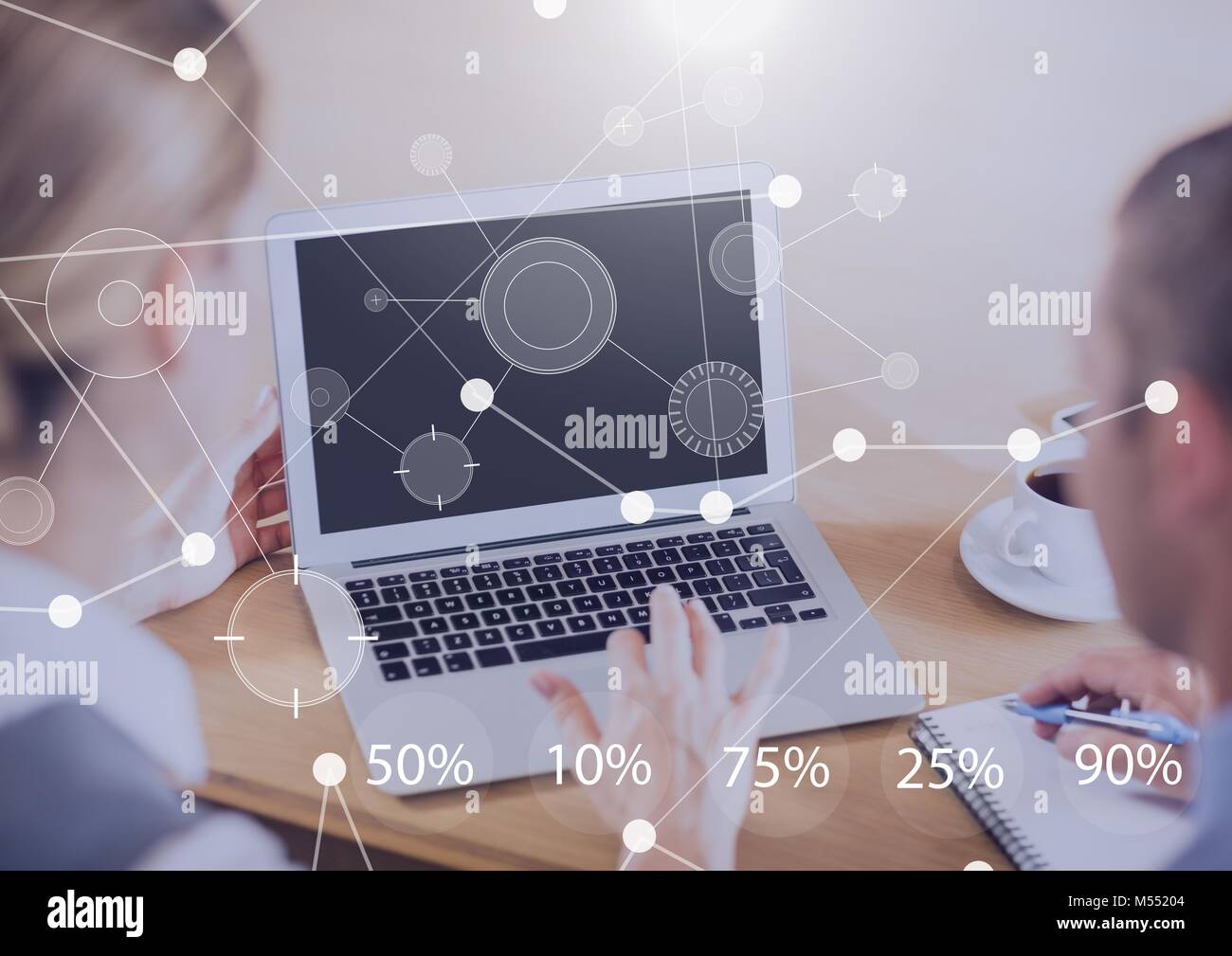 Business Overlay Interface with business people and laptop Stock Photo