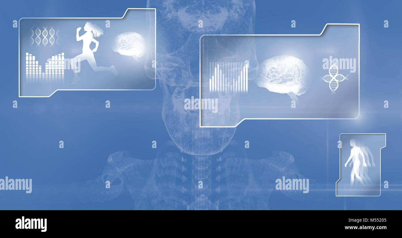 Human health and fitness interface and skeleton science background Stock Photo