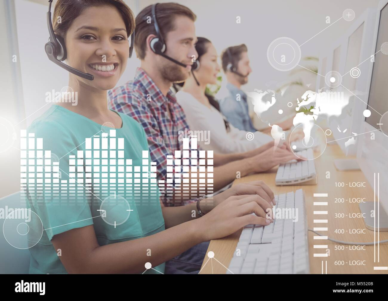 Business Overlay Interface with customer service people and computers Stock Photo