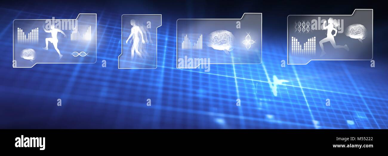 Human health and fitness interface and glowing grid background Stock Photo