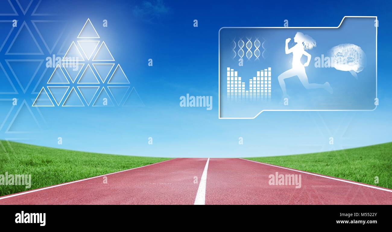 Human health and fitness interface and running track background Stock Photo