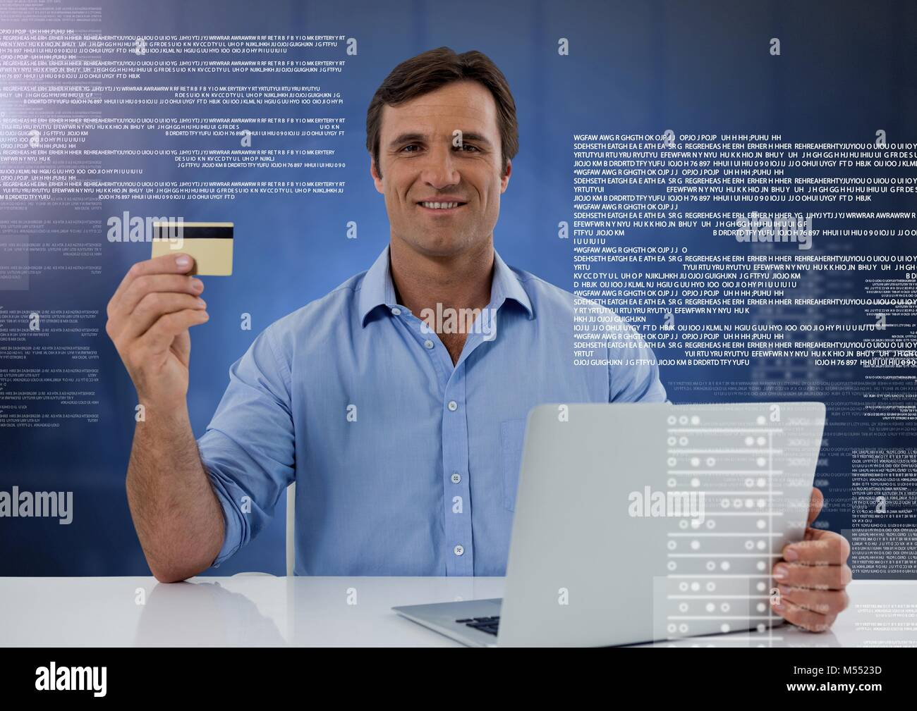 Businessman working on laptop with screen text interface Stock Photo