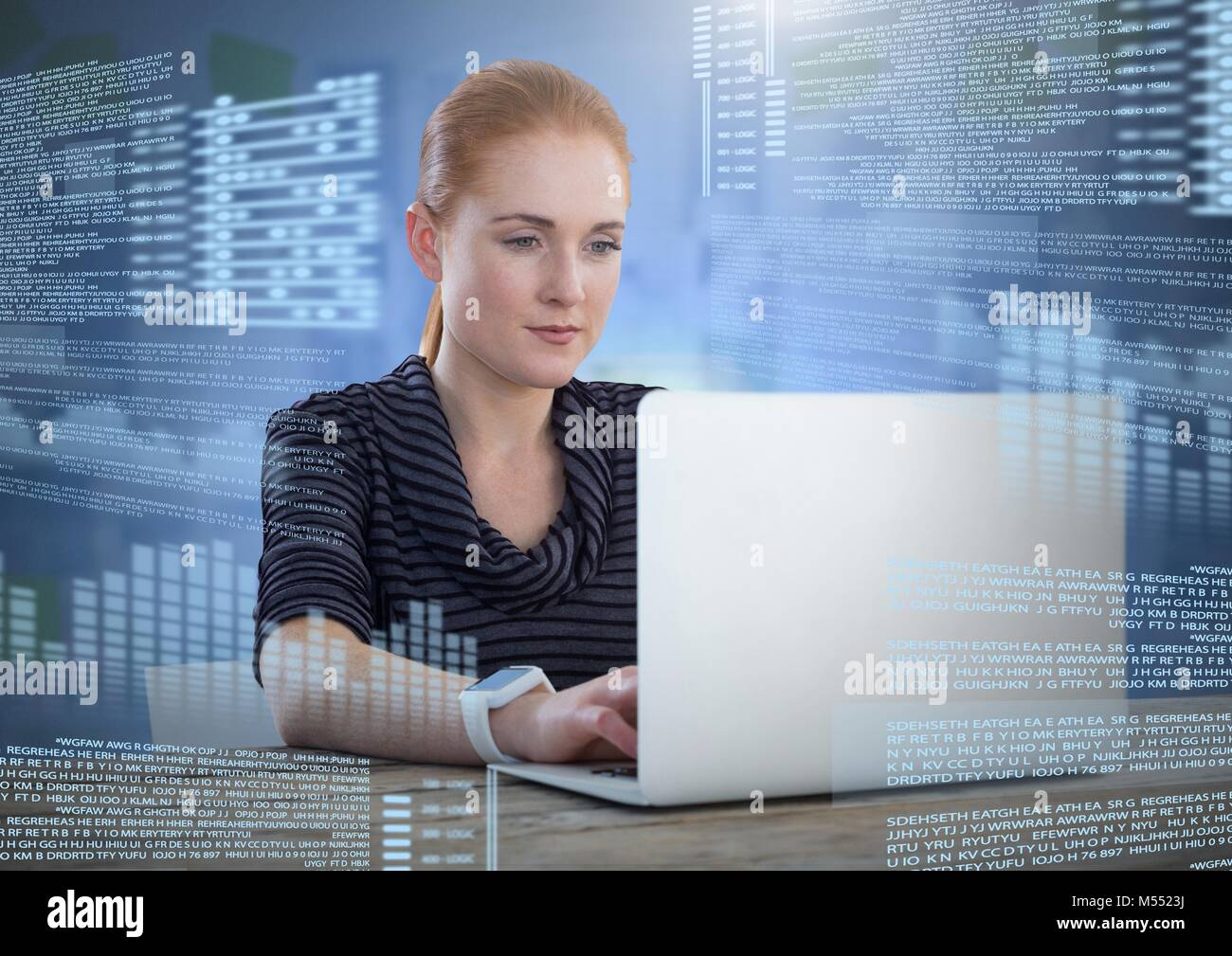 Businesswoman working on laptop with screen text interface Stock Photo