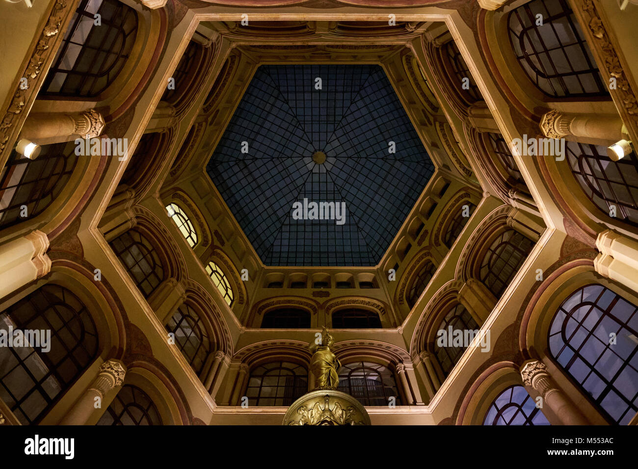 Vienna / Austria - February 16th 2018: Looking up into the dome in Palais Ferstel along Ferstel Passage in central - Stock Image