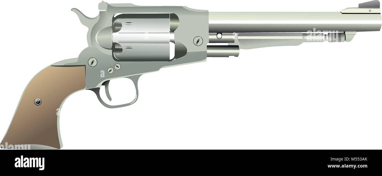 Revolver gun on isolated background. Vector illustration - Stock Vector