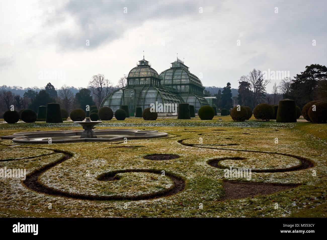 Vienna, Austria - February 18th 2018: The Palmenhaus Schönbrunn / Schönbrunn palm house in the grounds - Stock Image