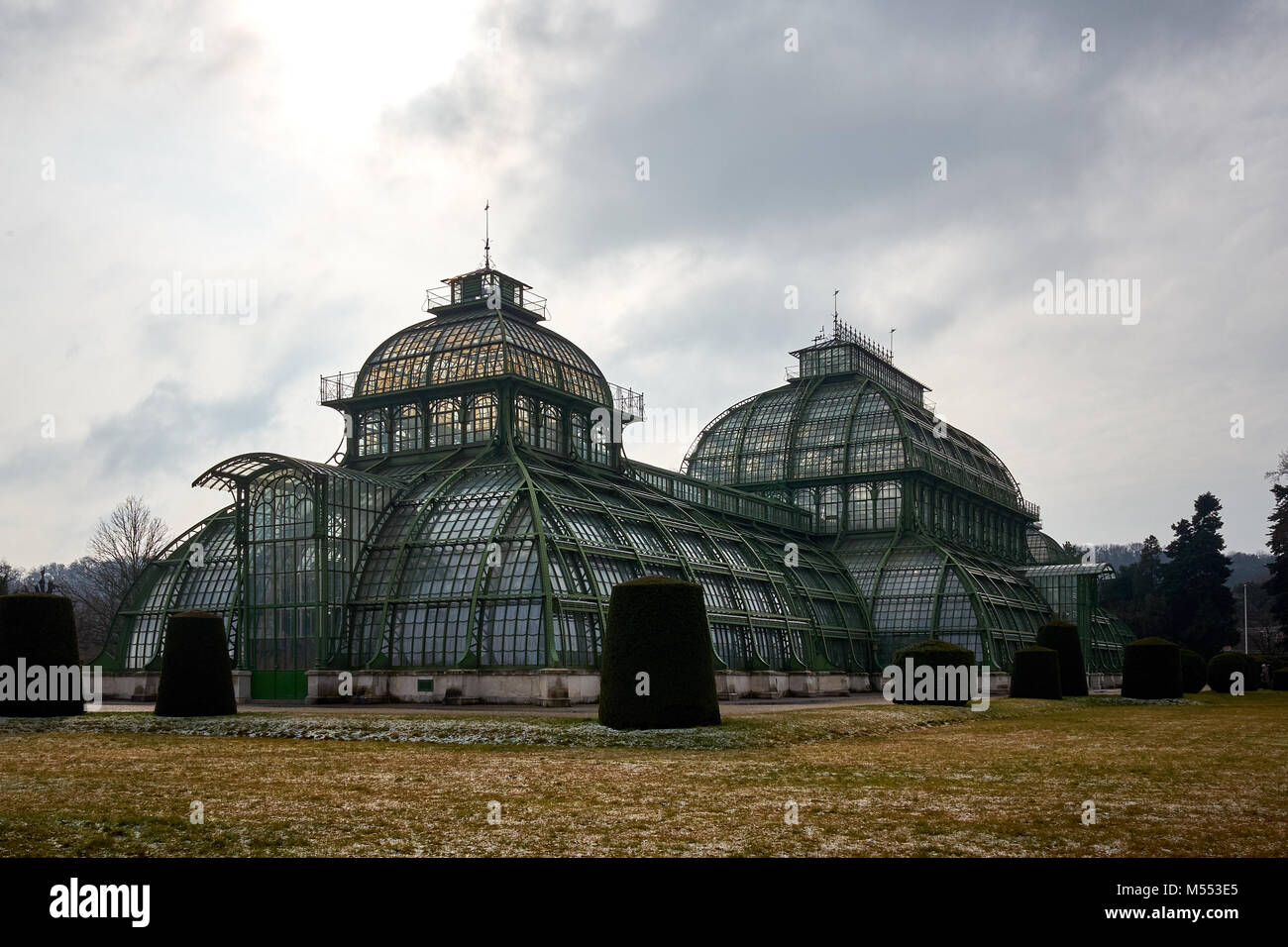 Vienna, Austria - February 18th 2018: The Palmenhaus Schönbrunn / Schönbrunn palm house in the grounds - Stock Image