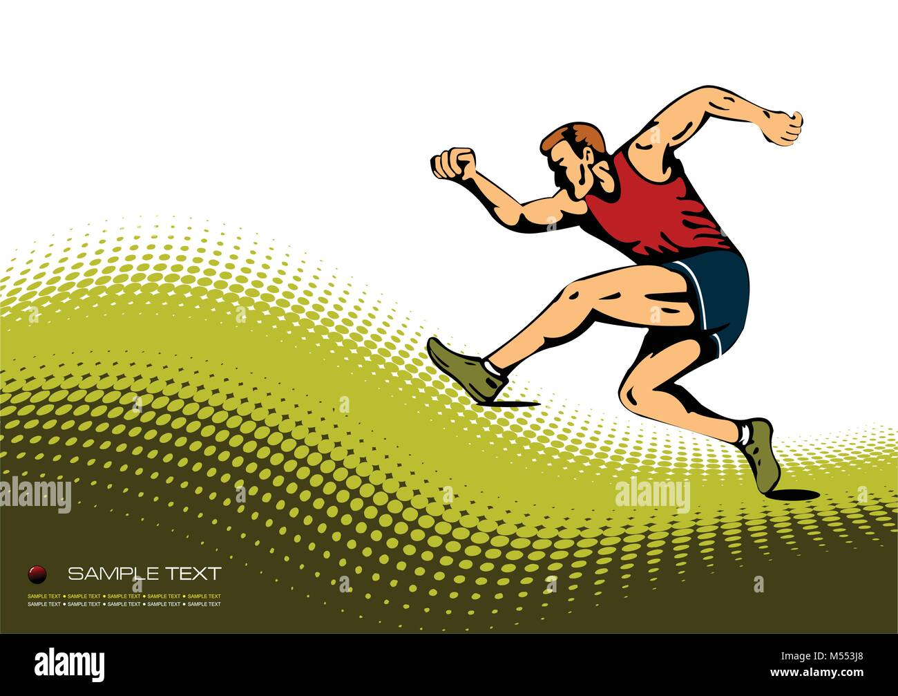 Abstract background with  running man image. Vector illustration - Stock Vector