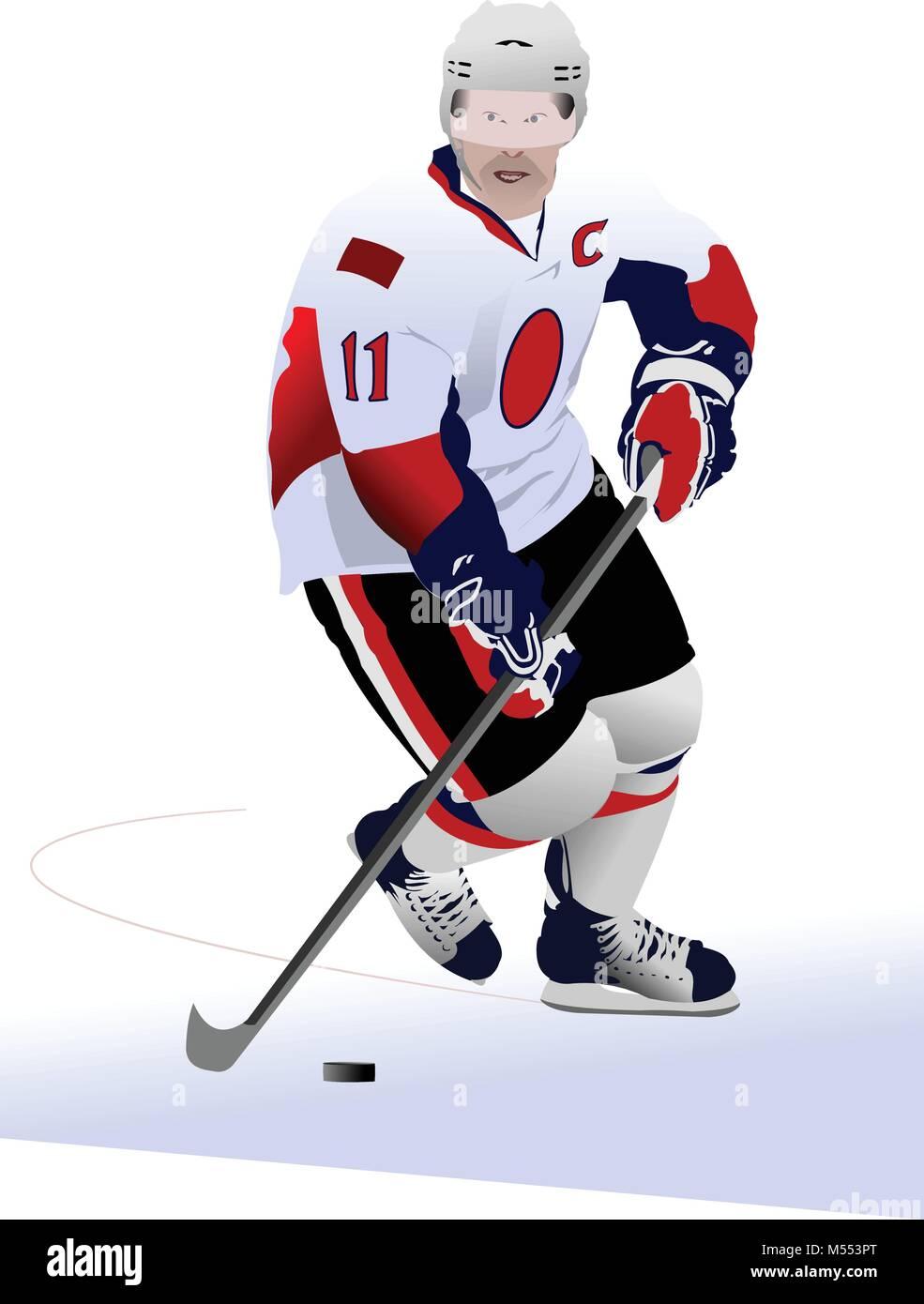 Ice hockey players. Vector illustration - Stock Vector