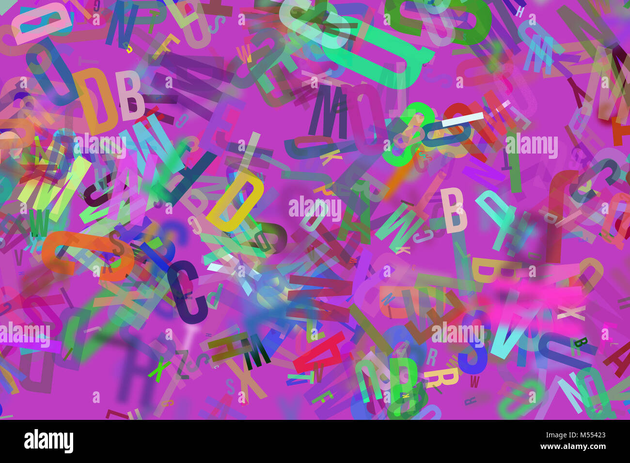Colorful Blur Alphabets Letters From A To Z Word Cloud