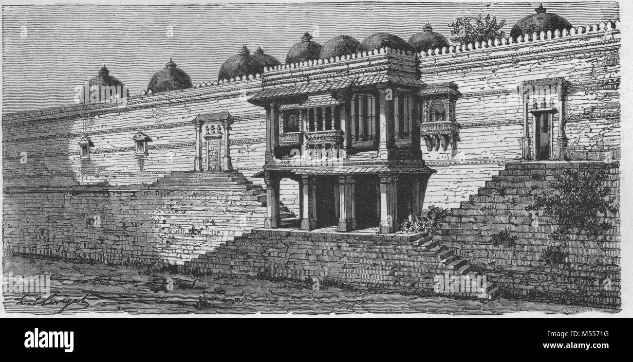 INDIA. Balcony of the Great Mosque of Sirkhej, antique engraving 1878 - Stock Image