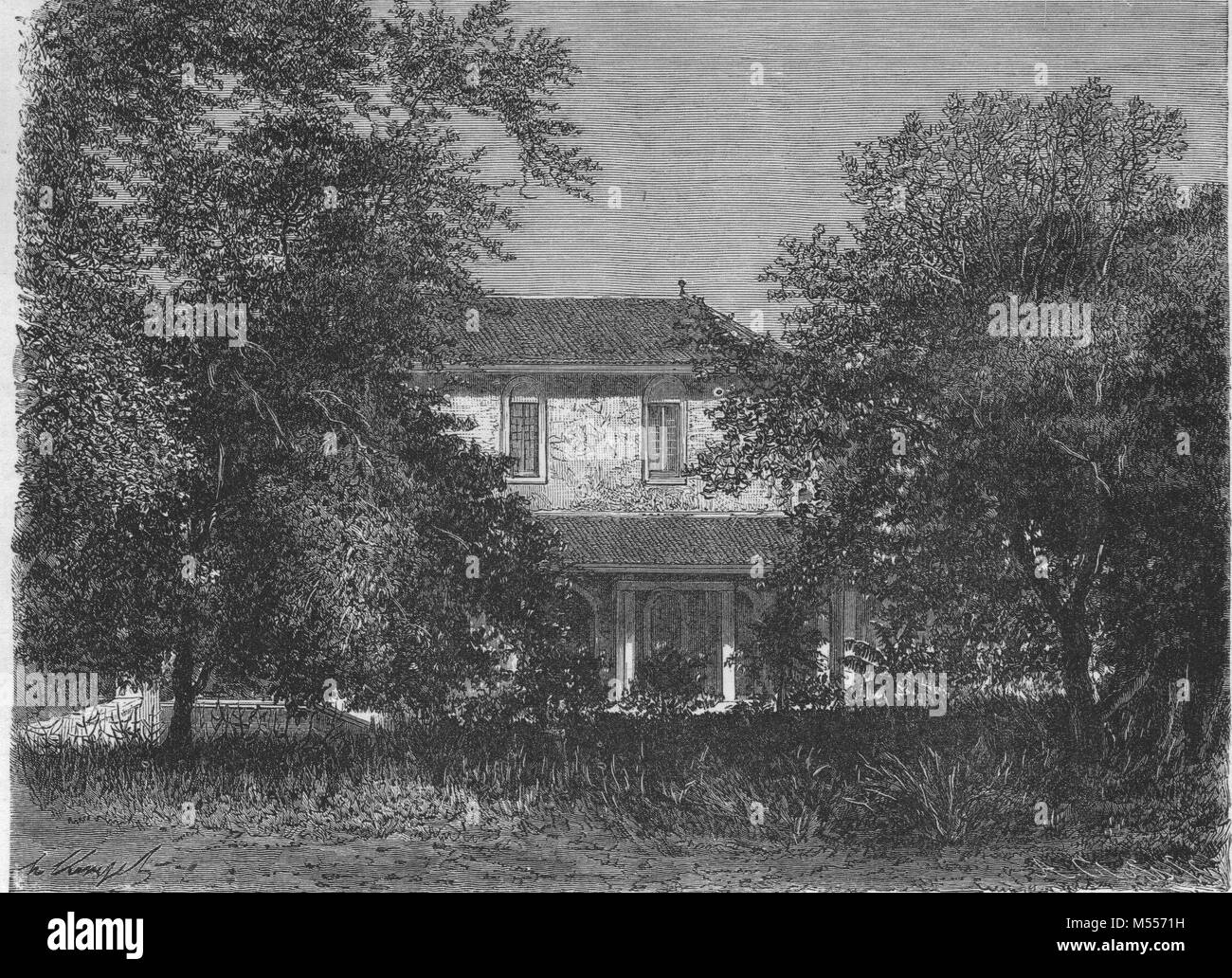 INDIA. The Travellers' Bungalow at Ahmedabad, antique engraving 1878 - Stock Image