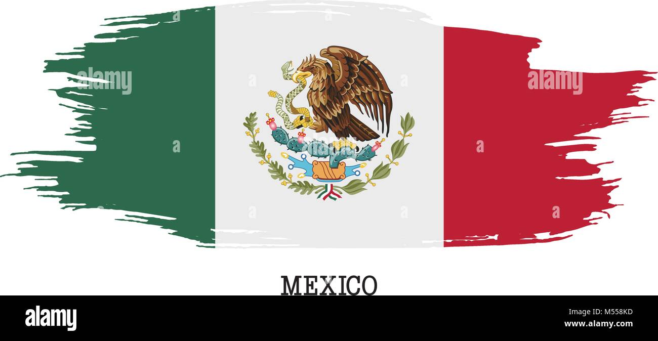 Mexico flag vector grunge paint stroke   - Stock Image