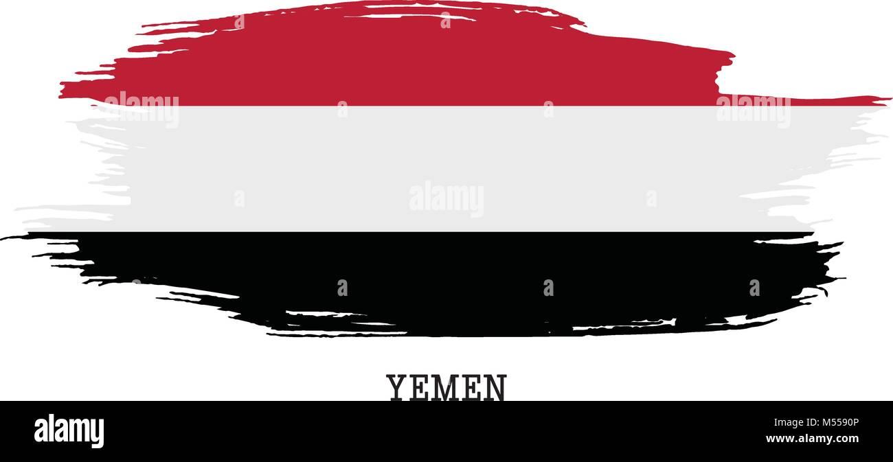 Yemen flag vector grunge paint stroke   - Stock Vector