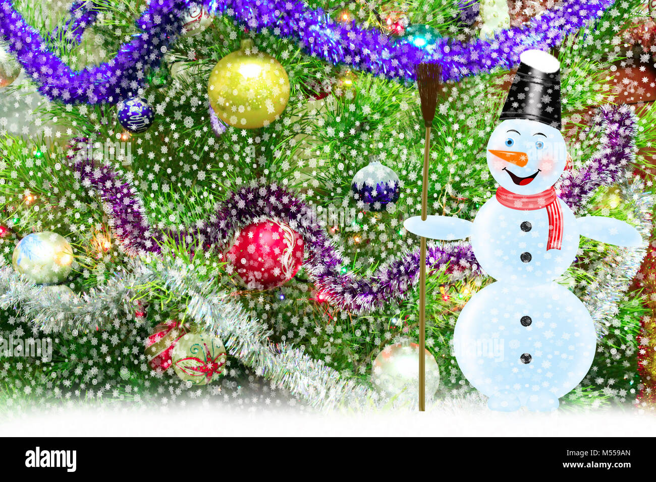 snowman at a harmonious and dressed up New Year's fur-tree - Stock Image