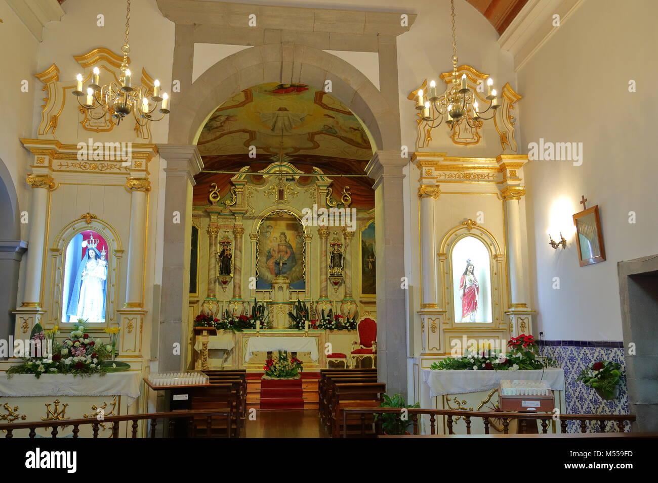 Interior of the church Nossa Senhora do Livrament at Curral das Freiras , Madeira, Portugal - Stock Image