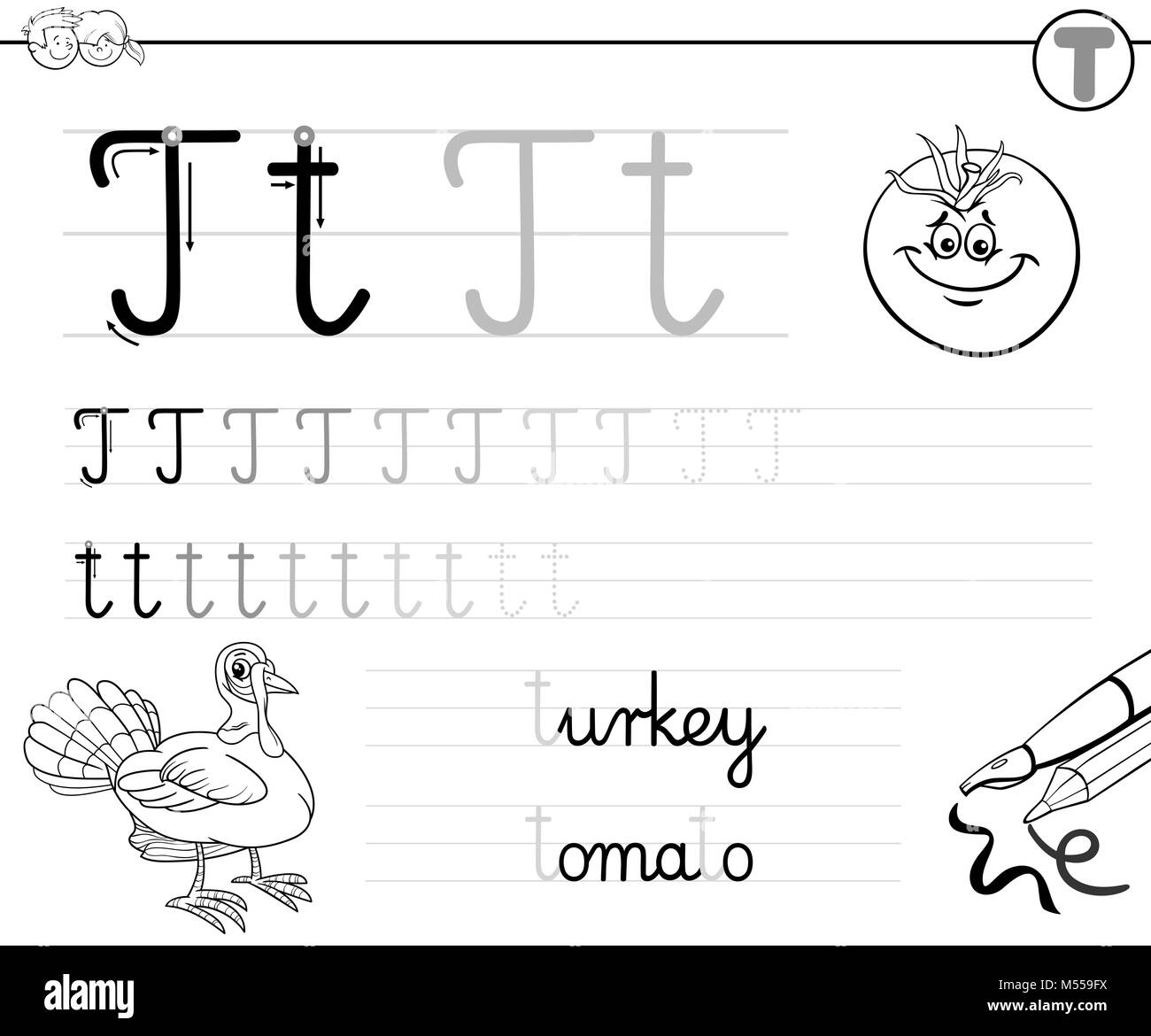 learn to write letter T workbook for kids Stock Photo