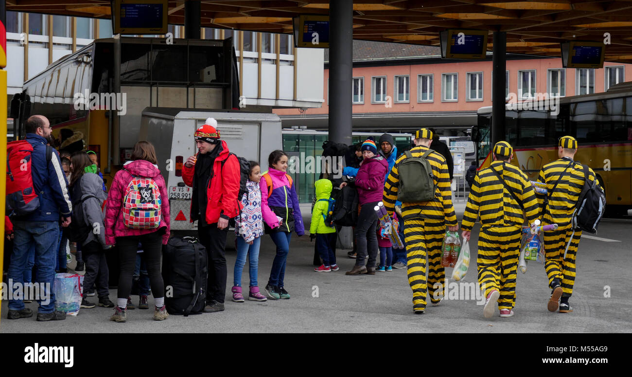 Insolit view of Carnival, Sion, Valais, Swiss - Stock Image