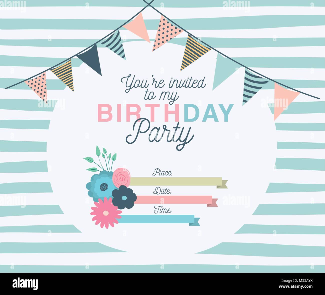 Happy Birthday Party Invitation With Floral Decoration