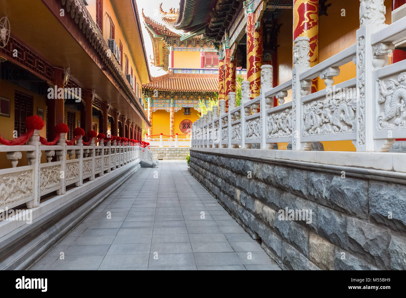 buddhist temple courtyards closeup - Stock Image