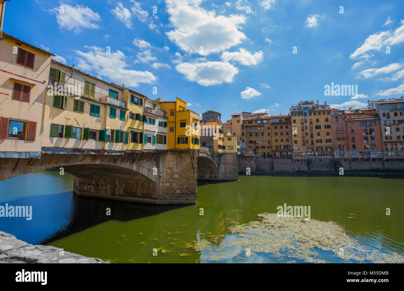 FLORENCE (FIRENZE), JULY 28, 2017 - View of Ponte Vecchio in Florence (Firenze), Tuscany, Italy. Stock Photo