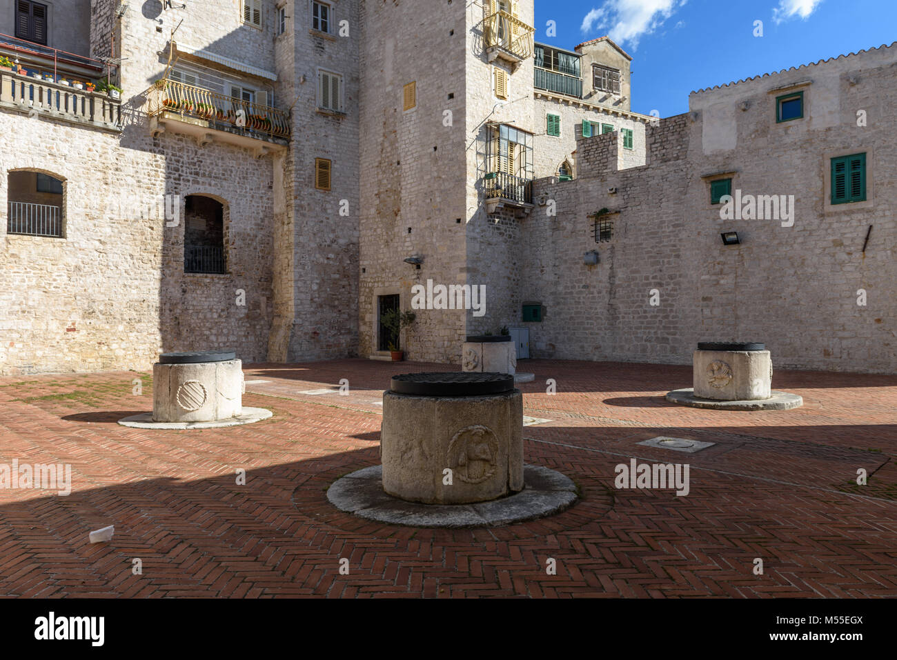 4 wells cistern, Medieval Water supply system, Sibenik, Croatia - Stock Image