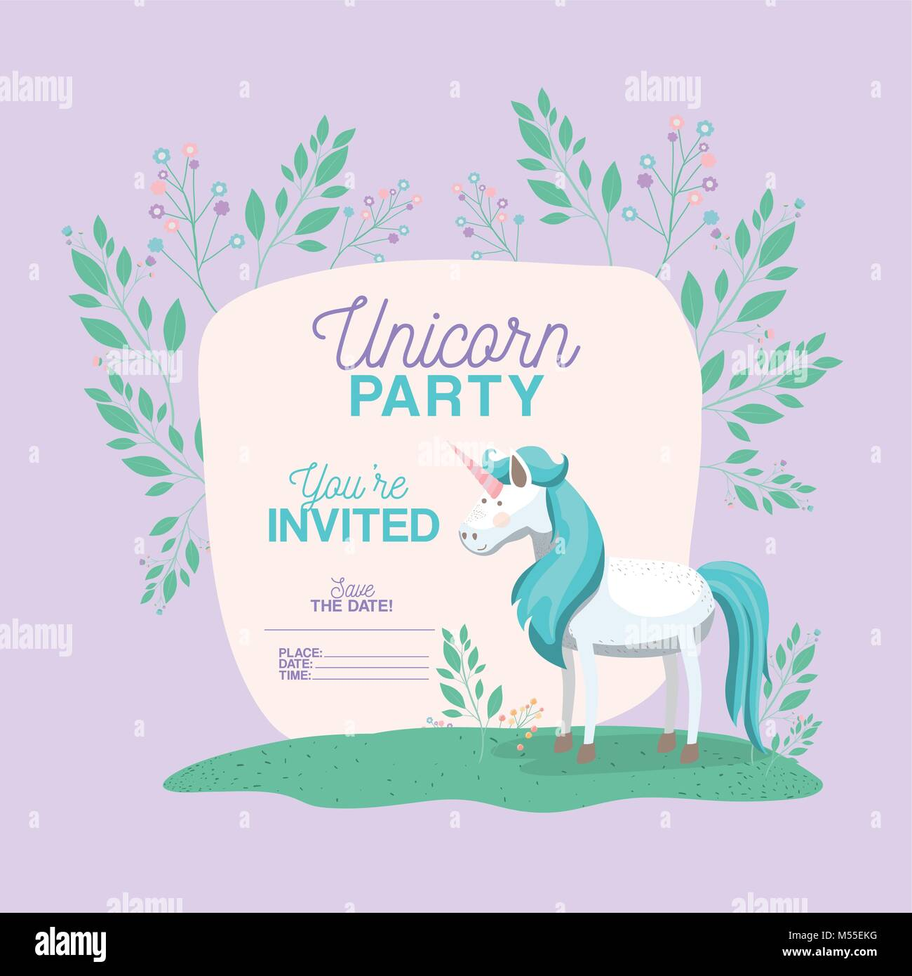 Unicorn party invitation card with floral decoration stock vector unicorn party invitation card with floral decoration stopboris Choice Image
