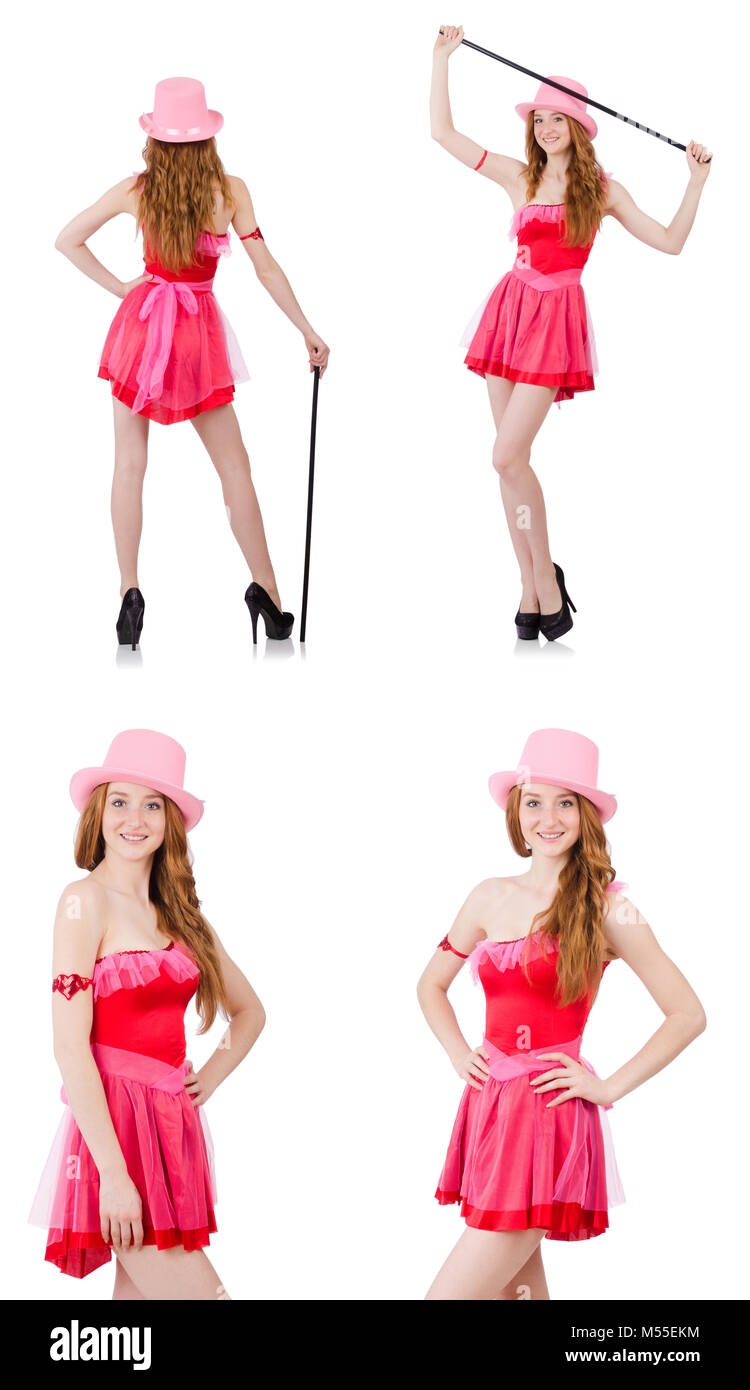 Pretty young wizard in mini pink dress isolated on white  sc 1 st  Alamy & Pretty young wizard in mini pink dress isolated on white Stock Photo ...