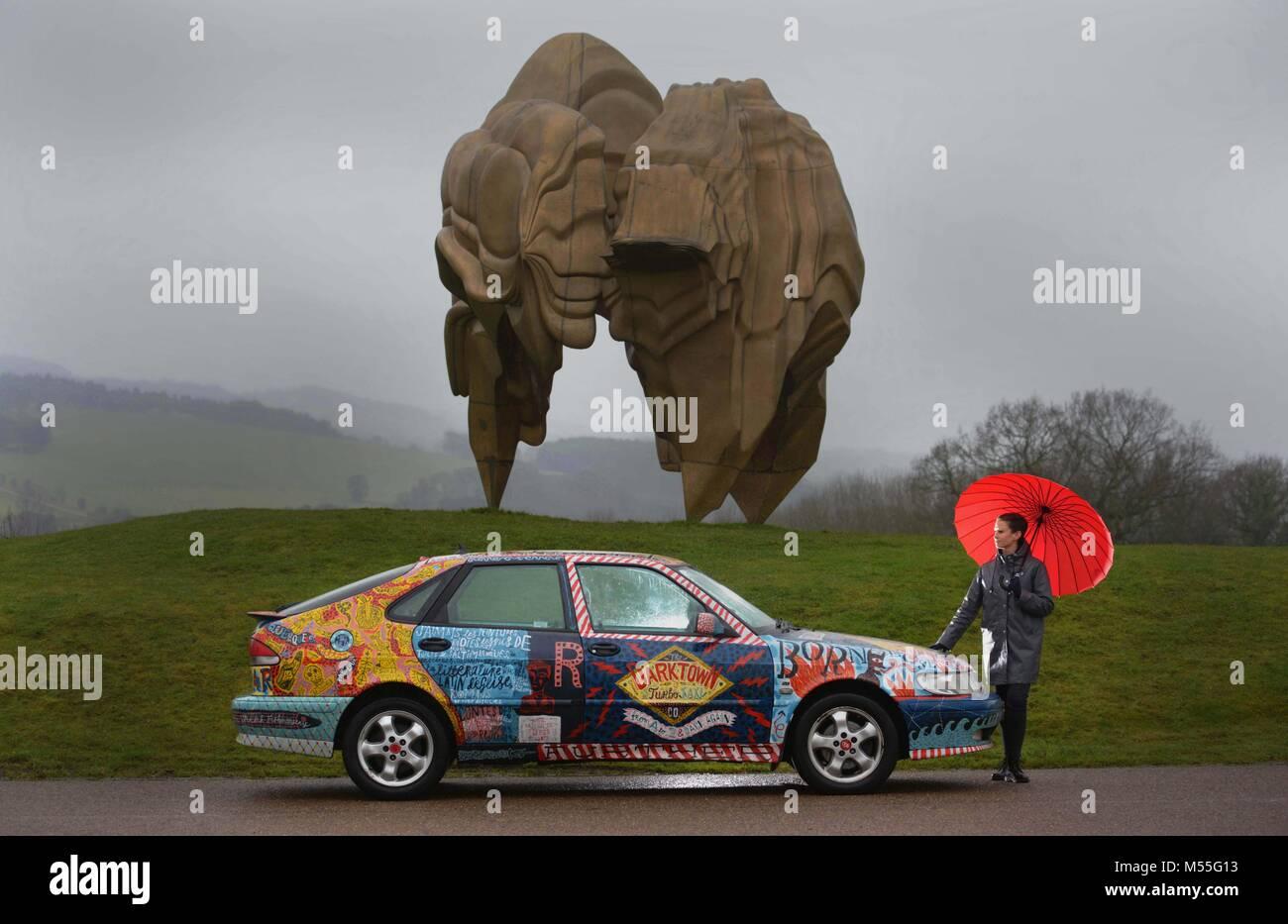 Yorkshire Sculpture Park, West Yorkshire, UK. 19th February, 2018. Kerry Chase of Yorkshire Sculpture Park with - Stock Image