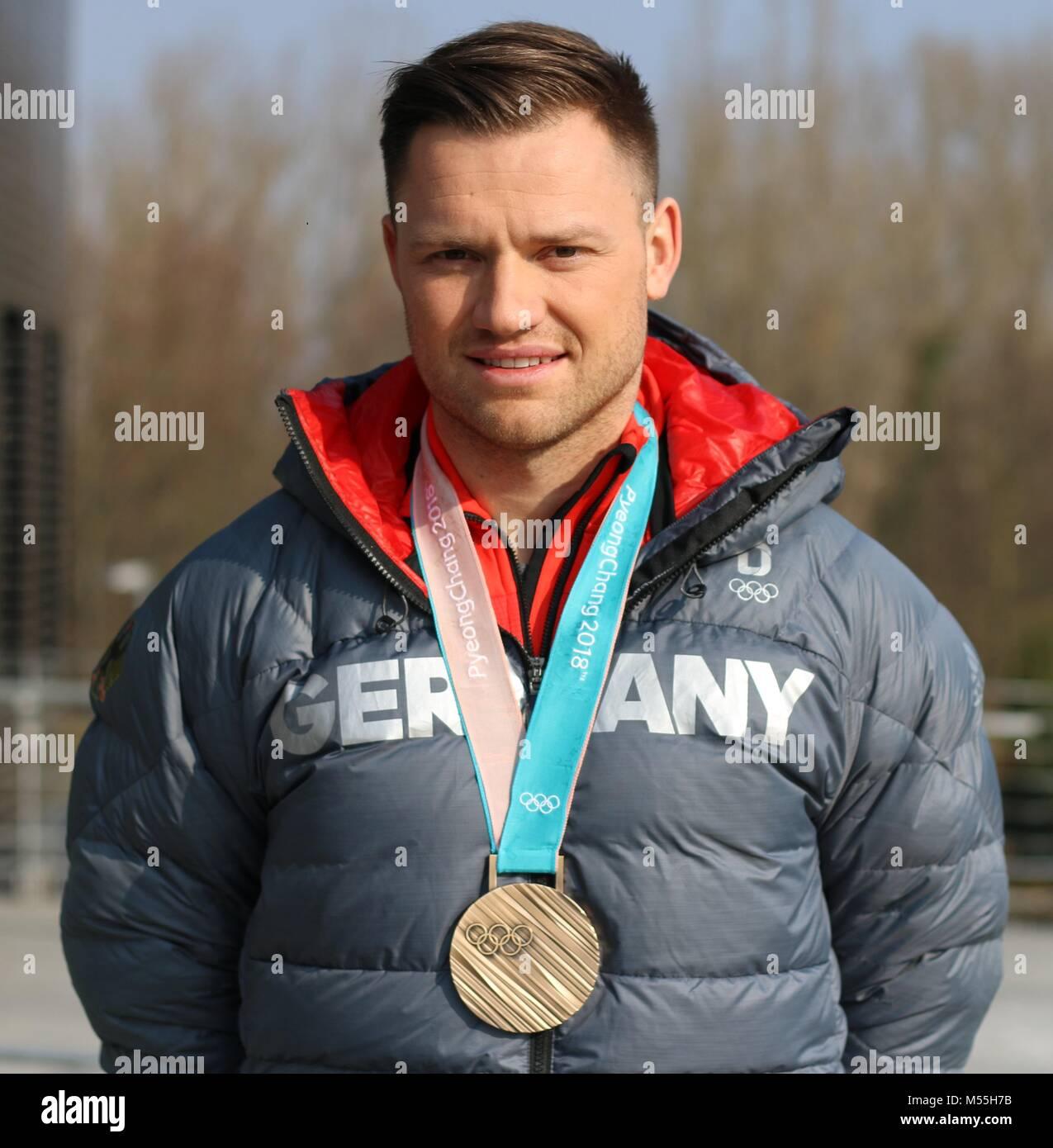 Magdeburg, Germany - February 20,2018: German luge athlete Toni Eggert visits Magdeburg after returning from Pyeongchang. - Stock Image