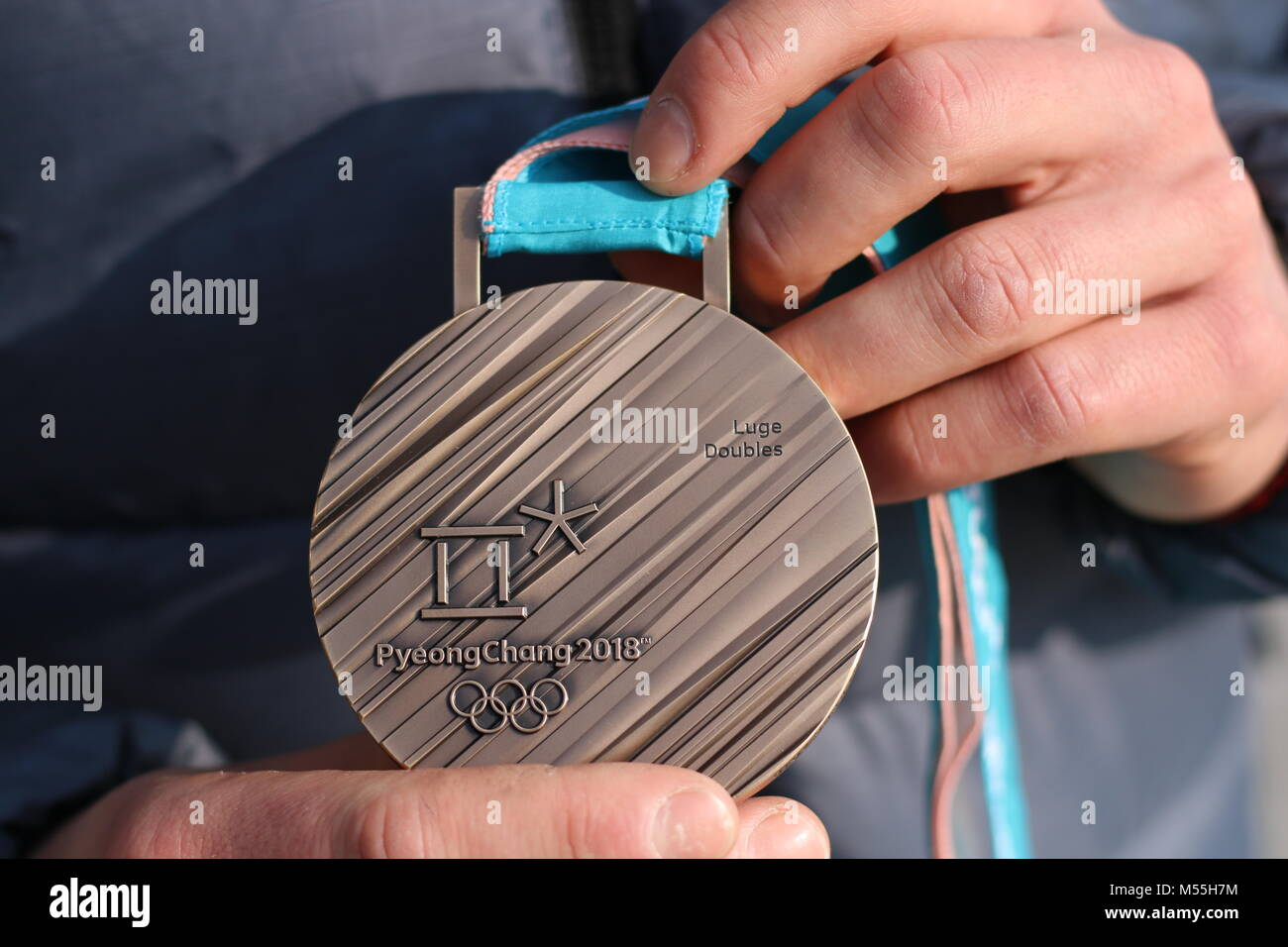 Magdeburg, Germany - February 20,2018: Bronze medal at the Olympic Winter Games in Pyeongchang. It belongs to the - Stock Image