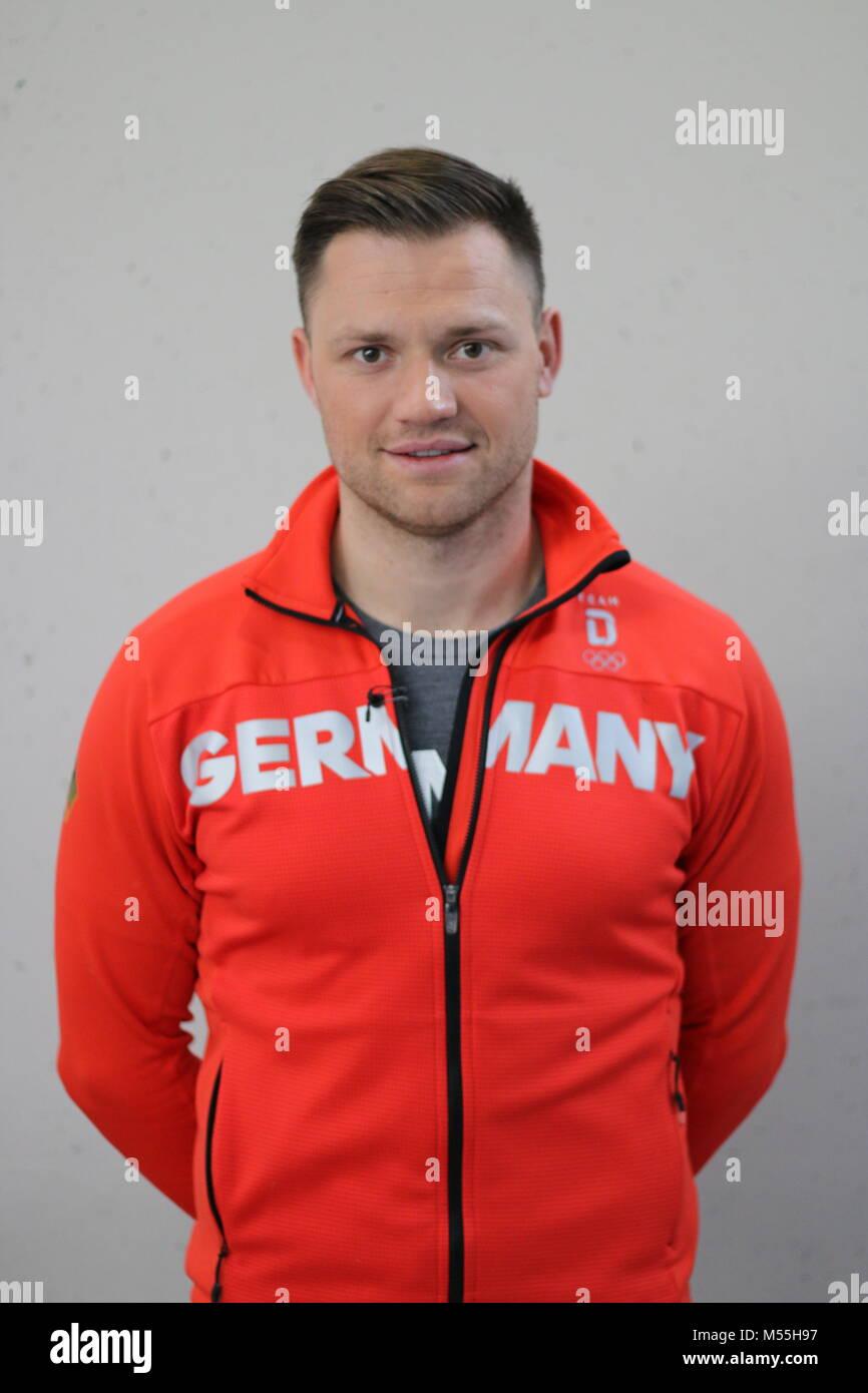 Magdeburg, Germany - February 20,2018: Portrait photo of Toni Eggert, German luge athlete. He won the bronze medal - Stock Image