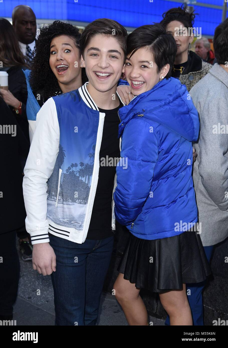 seen at good morning america to promote andi mack stock photos