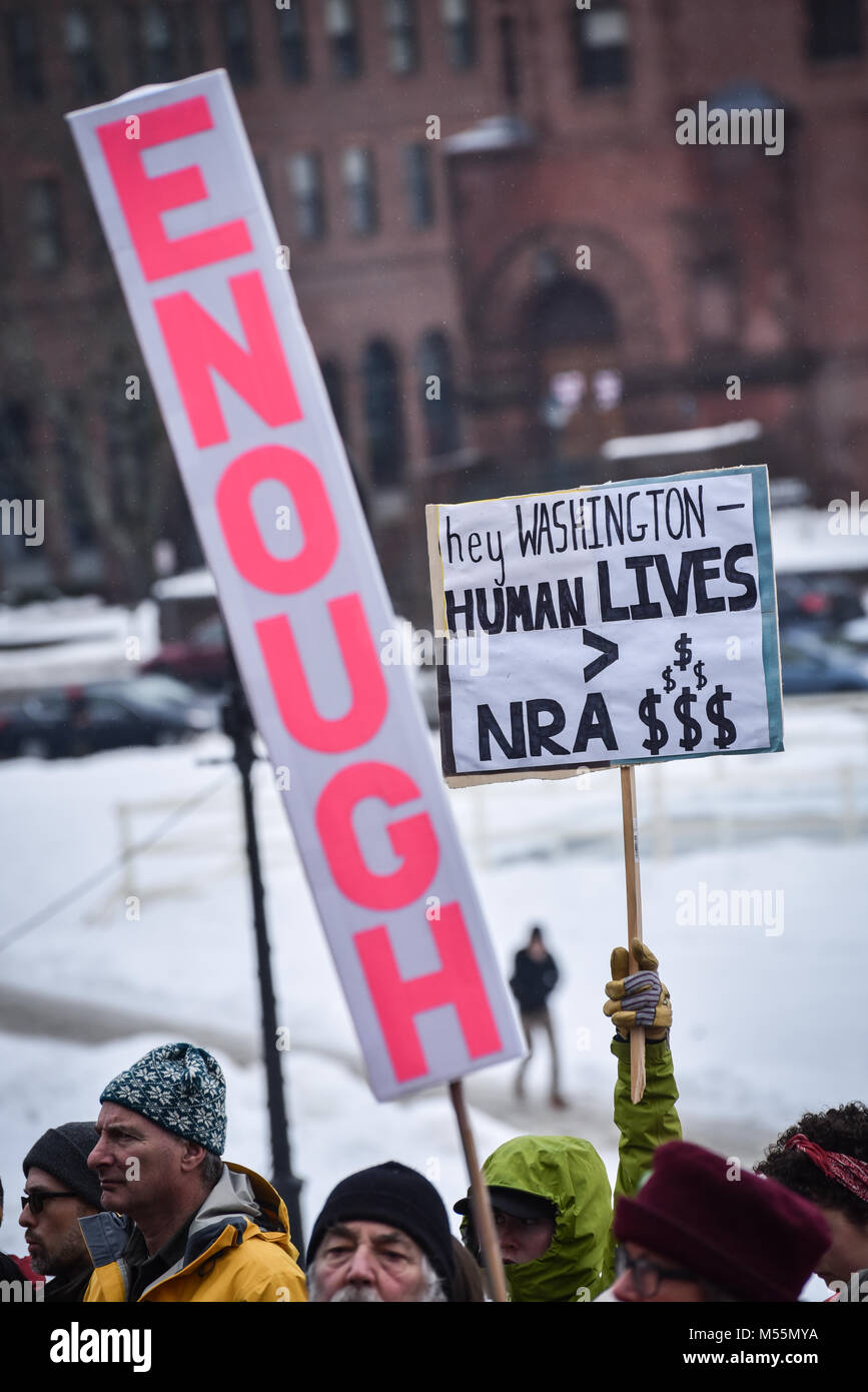 Montpelier, Vermont, USA. 19th February, 2018. Demonstration against gun violence after Parkland, FL, school shootings, - Stock Image