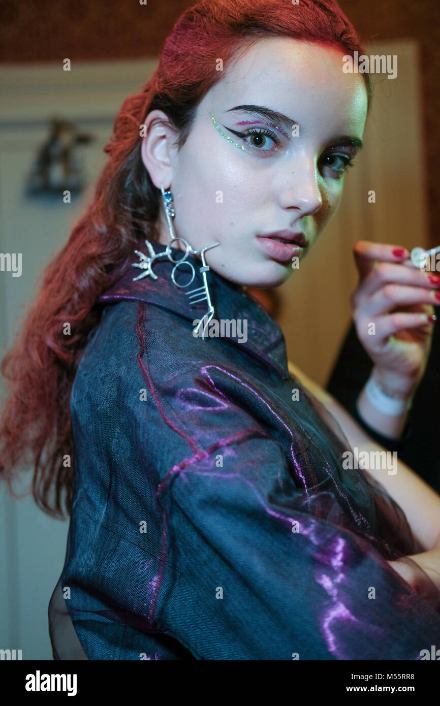 London, UK. 19th February, 2018. A model backstage ahead of the A.V. Robertson show during London Fashion Week February - Stock Image