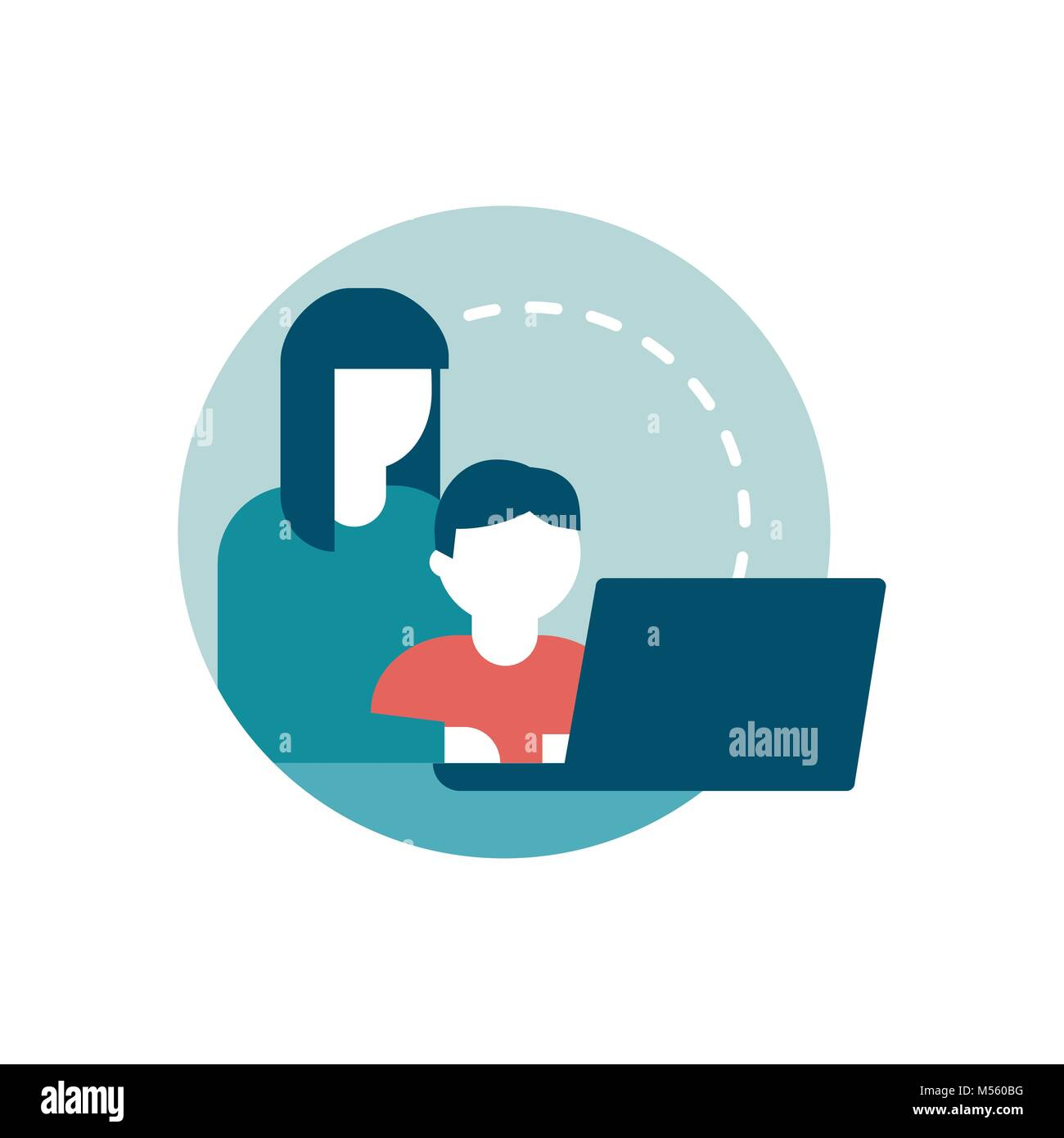 Safe web surfing for kids: a mother is connecting with her child - Stock Vector