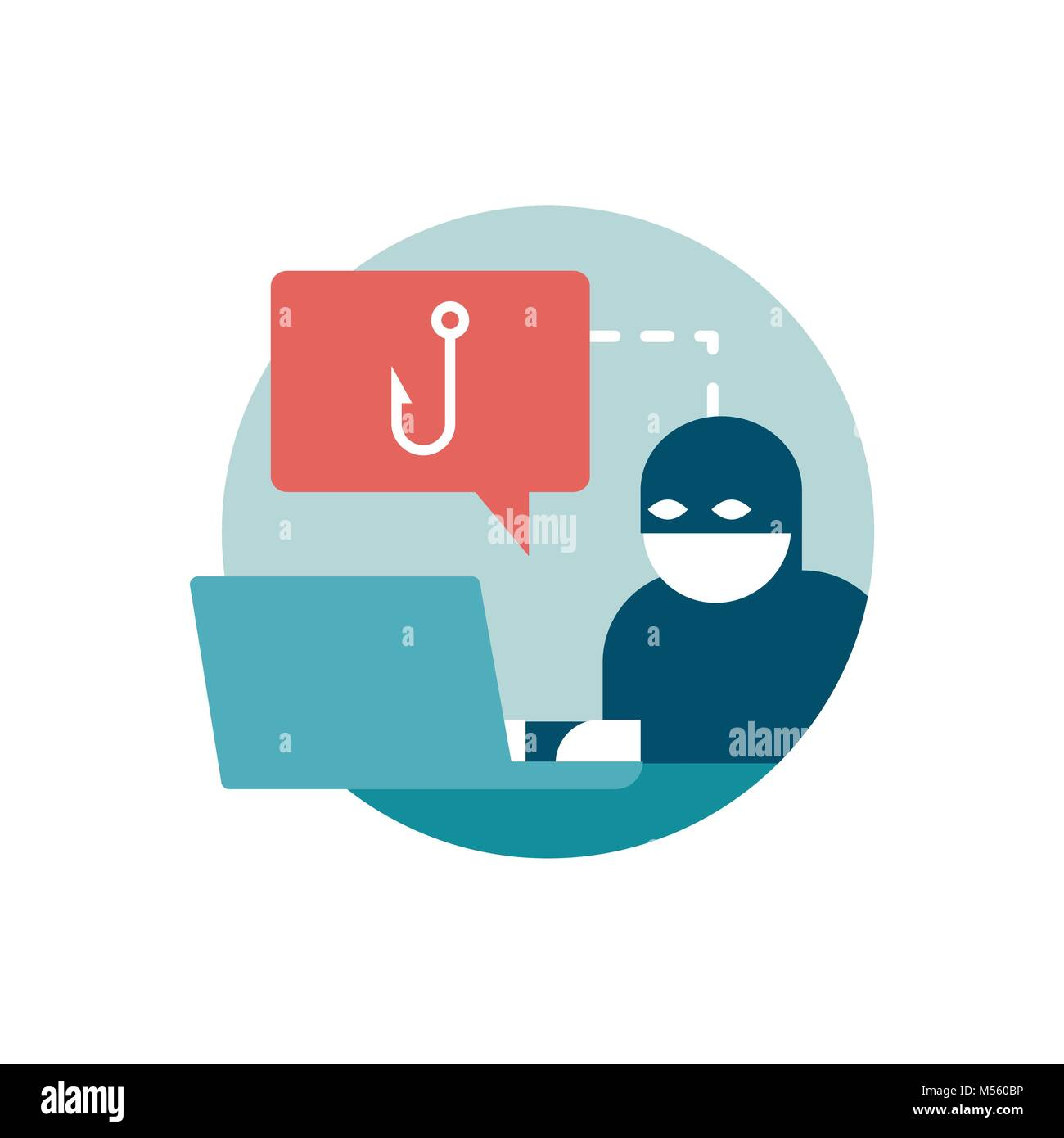 Hacker trying to steal passwords online: phishing, scam and malware concept - Stock Vector