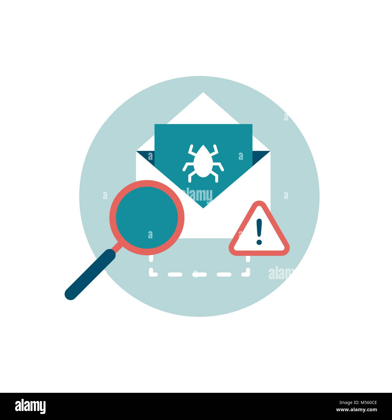 Check e-mail with an antivirus and attachment with virus, cyber security icon - Stock Image