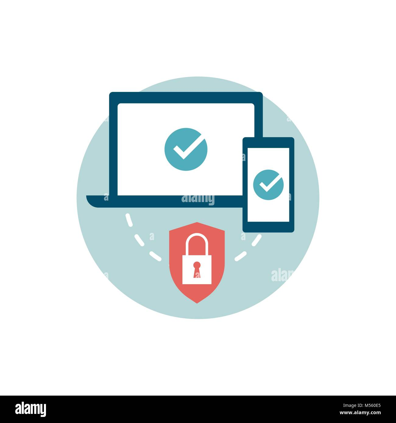 Protect all your devices with an antivirus and run a system scan, internet security icon - Stock Image