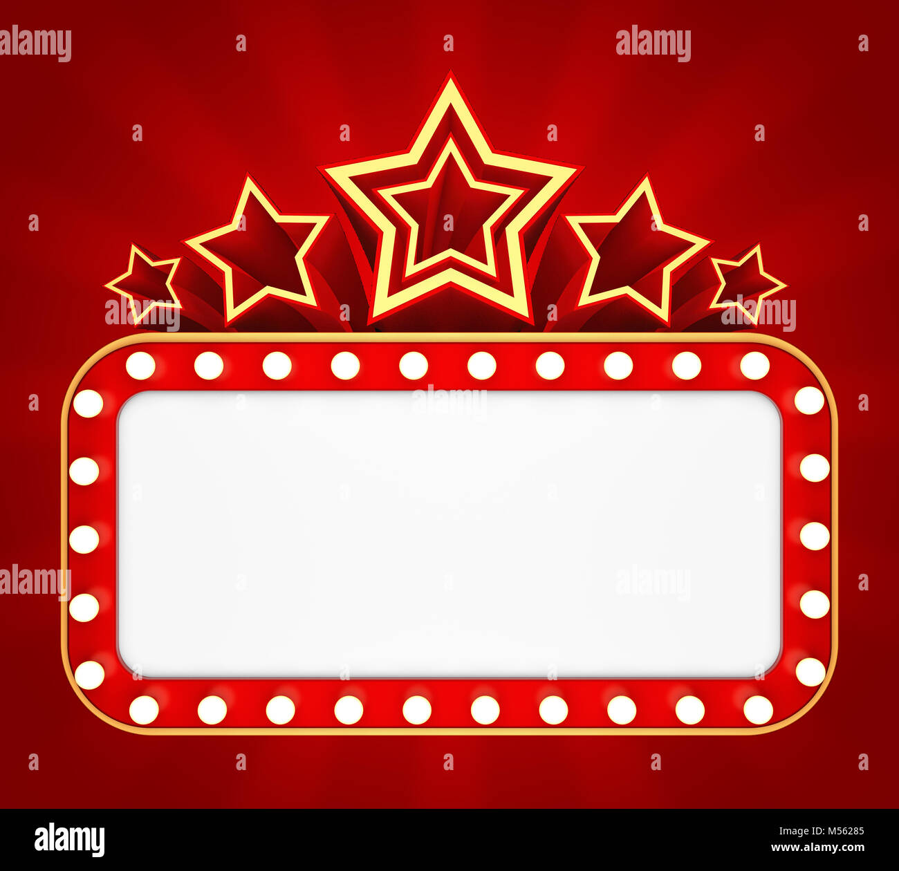 Retro banner with stars on red background. 3D rendering Stock Photo