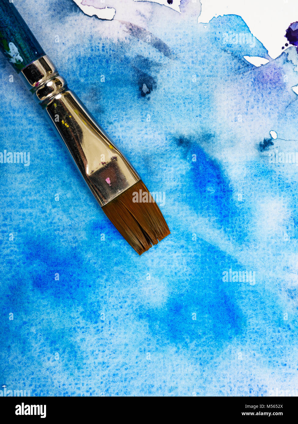 Blue Painting Background With Paintbrush