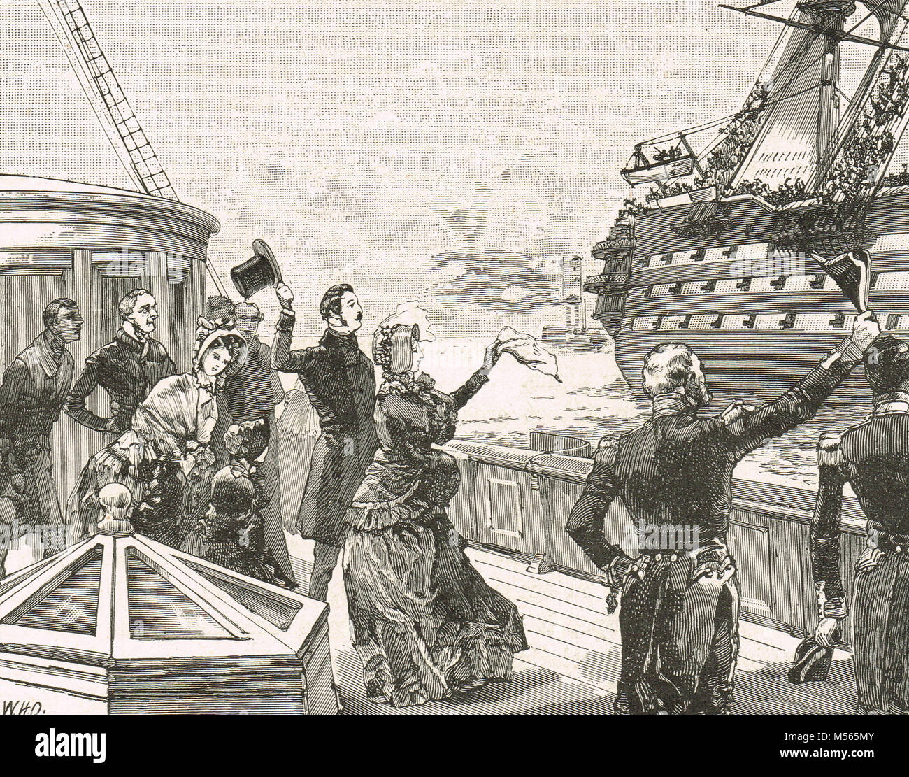 Queen Victoria waving farewell to HMS Duke of Wellington, 1854, departing for the Crimean War - Stock Image