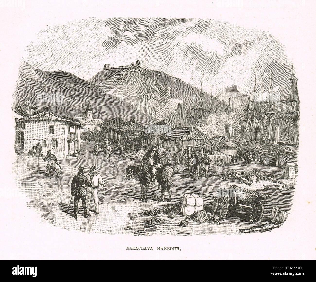 Balaclava harbour, 1854, Crimean war - Stock Image